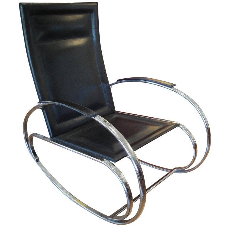 polished chrome and leather rocking chair at 1stdibs. Black Bedroom Furniture Sets. Home Design Ideas