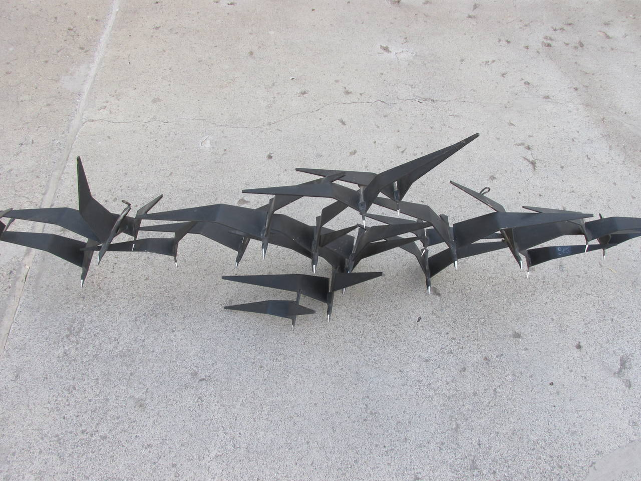 birds in flight metal wall art by curtis jere at 1stdibs. Black Bedroom Furniture Sets. Home Design Ideas