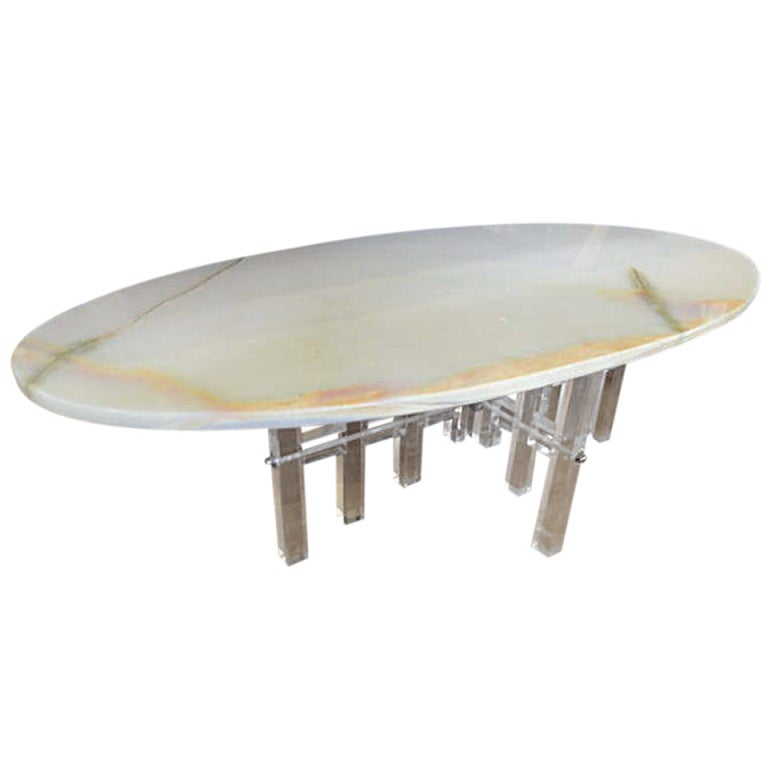Lucite And Onyx Coffee Table At 1stdibs