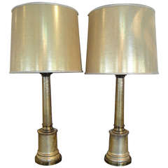 Paul Hanson Gold Crackalure Reverse Glass Table Lamps