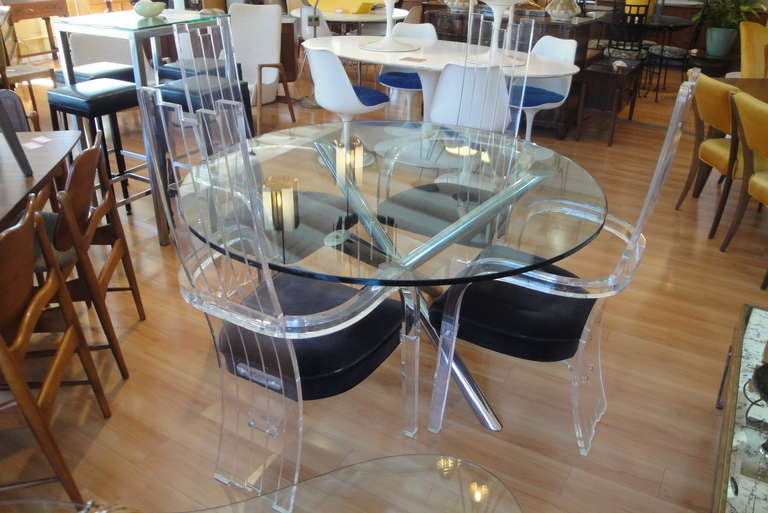 Chrome Gl Dining Table With 4 Lucite Chairs 2