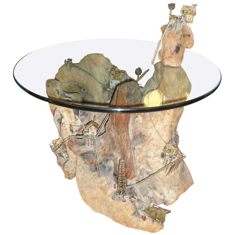 Lovely Exceptional Brutalist Brazed Metal And Driftwood End Table 1