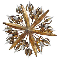 Gilt Metal Brutalist Chandelier