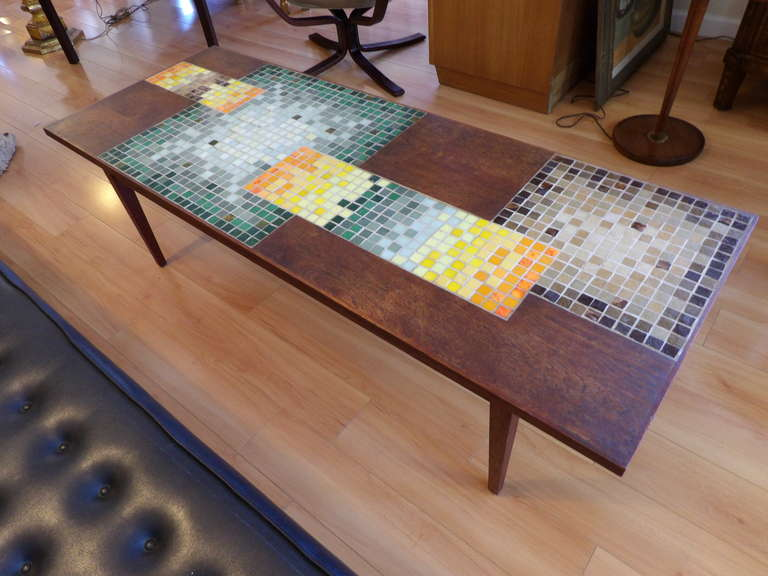 Mosaic Tile Coffee Table With Rectangular And Square Multicolor Tiles On A Mahogany Base