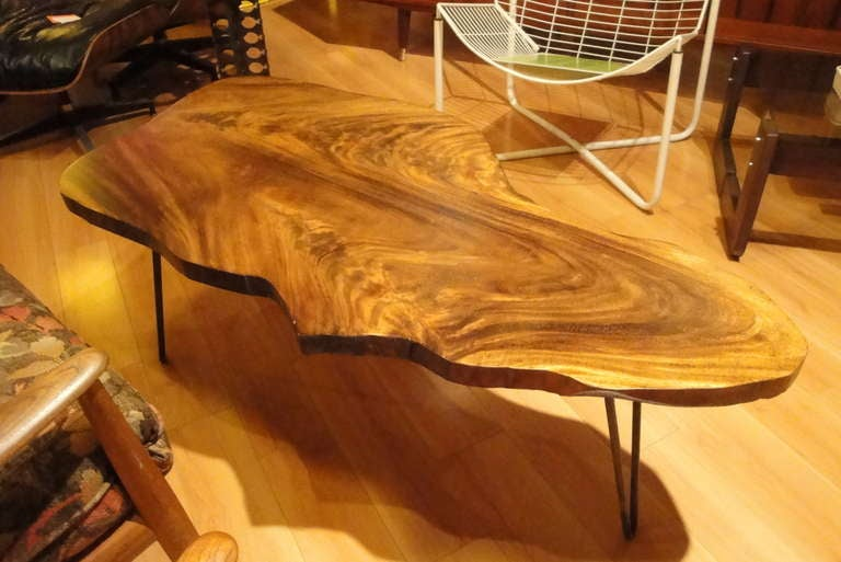 Figured Koa Wood Free Form Coffee Table With Iron Hairpin Legs 2