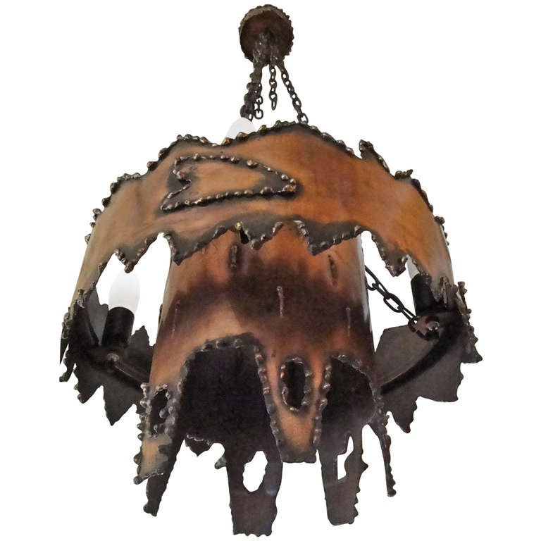 Torch Cut Metal Brutalist Chandelier Manner of Jere For Sale