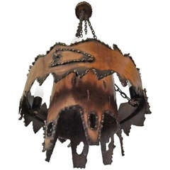 Unusual Torch Cut Metal Brutalist Chandelier