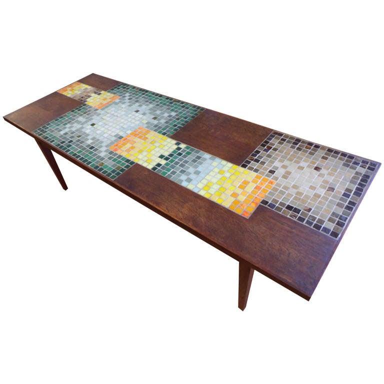 Geometric mosaic tile coffee table at 1stdibs for Geometric coffee table