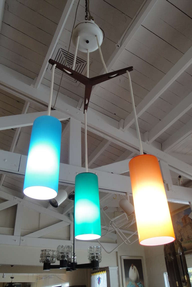 Mid Century Cased Glass Ceiling Fixture By Prescolite At
