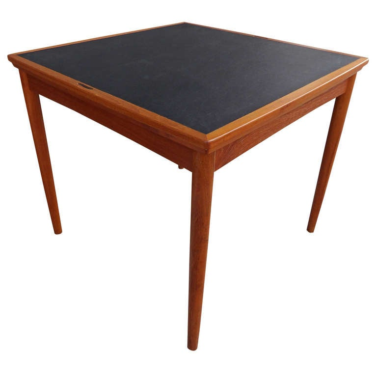 Poul hundevad convertible teak game or dining table at 1stdibs for Dining room game table