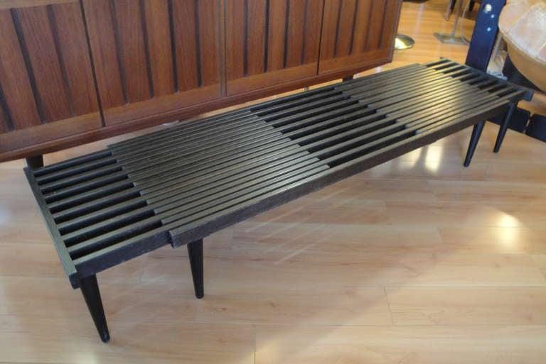 Expandable Black Slat Bench At 1stdibs