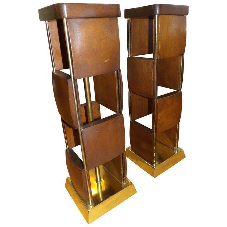 geometric wood tile table lamps at 1stdibs. Black Bedroom Furniture Sets. Home Design Ideas
