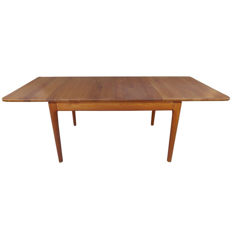 Fine Solid Teak Danish Modern Extension Dining Table At