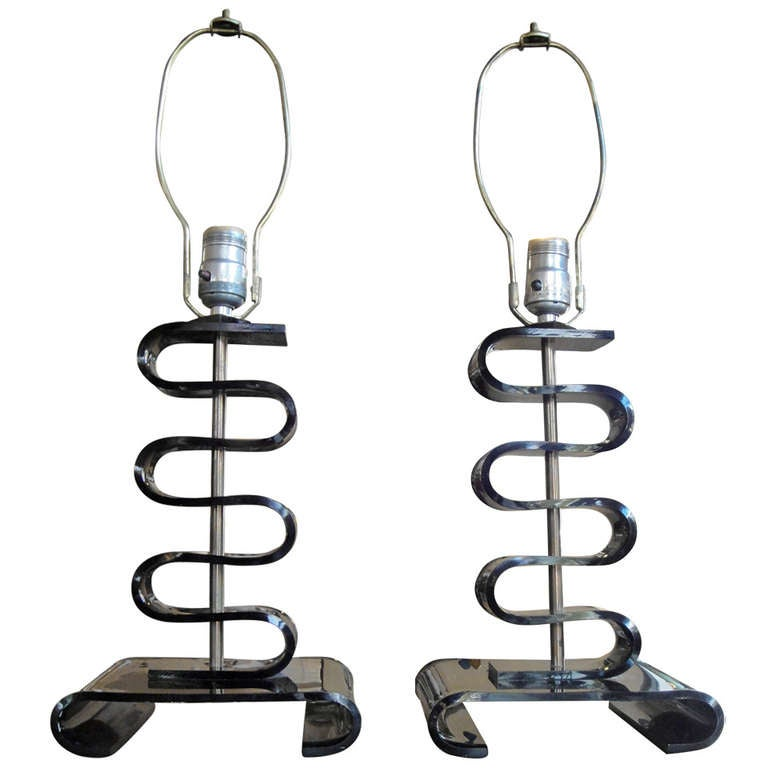 pair of black lucite table lamps at 1stdibs