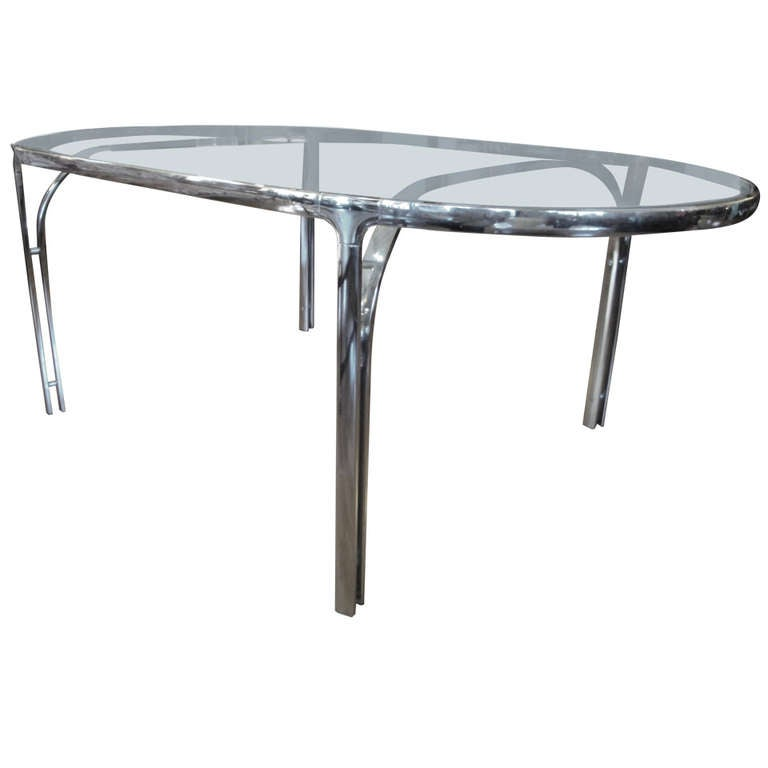 Polished Chrome And Glass Oval Dining Table At 1stdibs