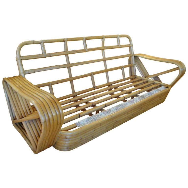 Style of paul frankl bamboo sofa at stdibs