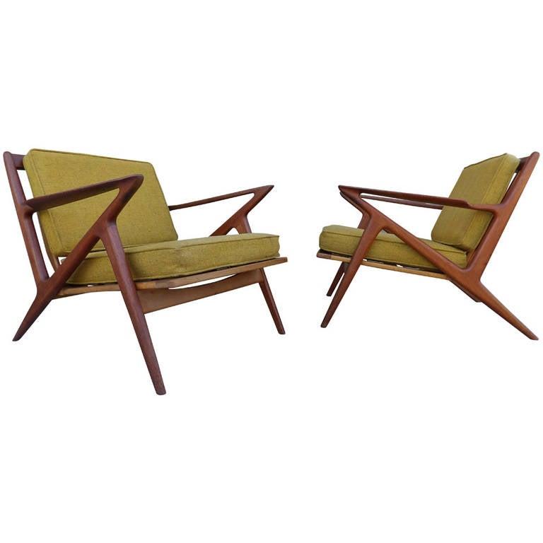 """Teak Poul Jensen """"Z"""" Danish Modern Lounge Chairs at 1stdibs"""