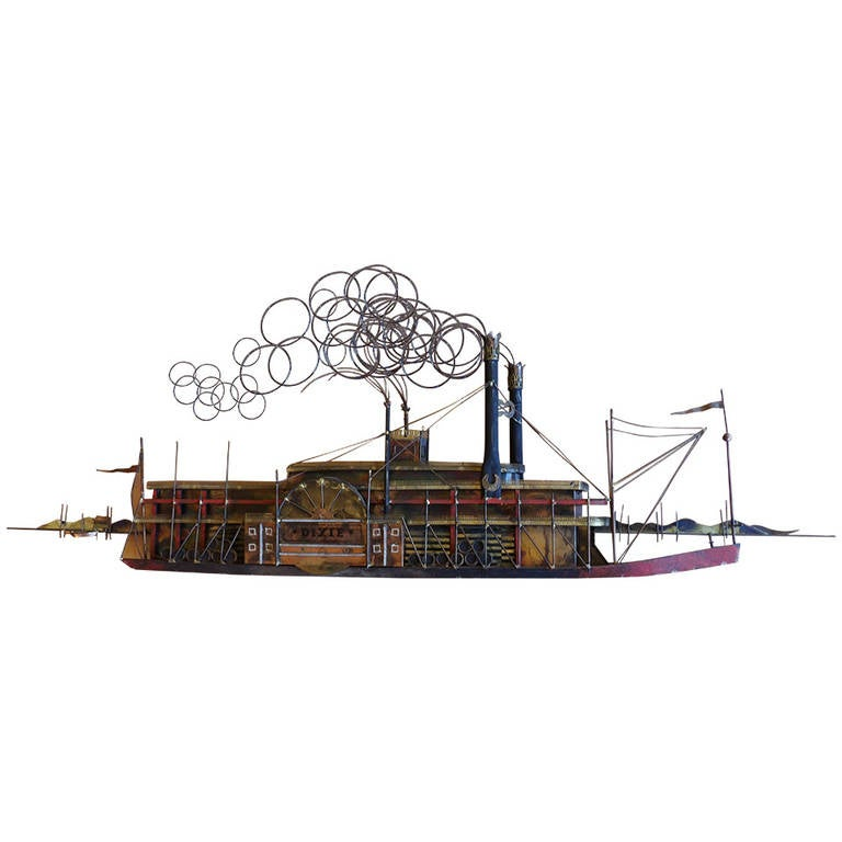 Curtis Jeré Paddle Boat Wall or Tabletop Steel Sculpture