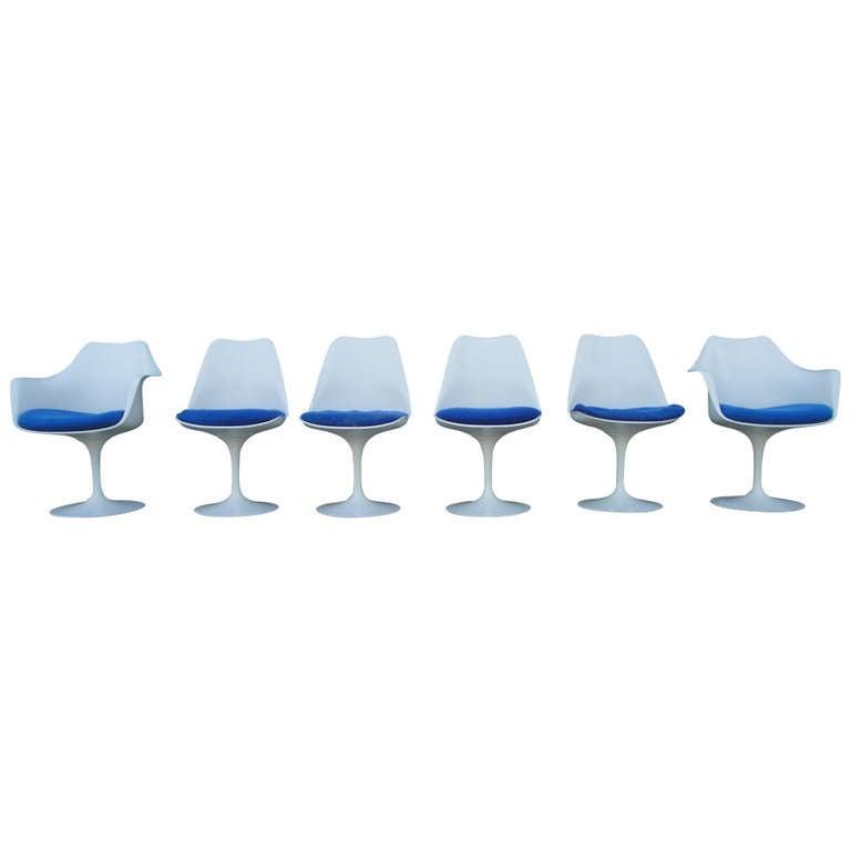 Six Eero Saarinen For Knoll Associates Tulip Base Dining