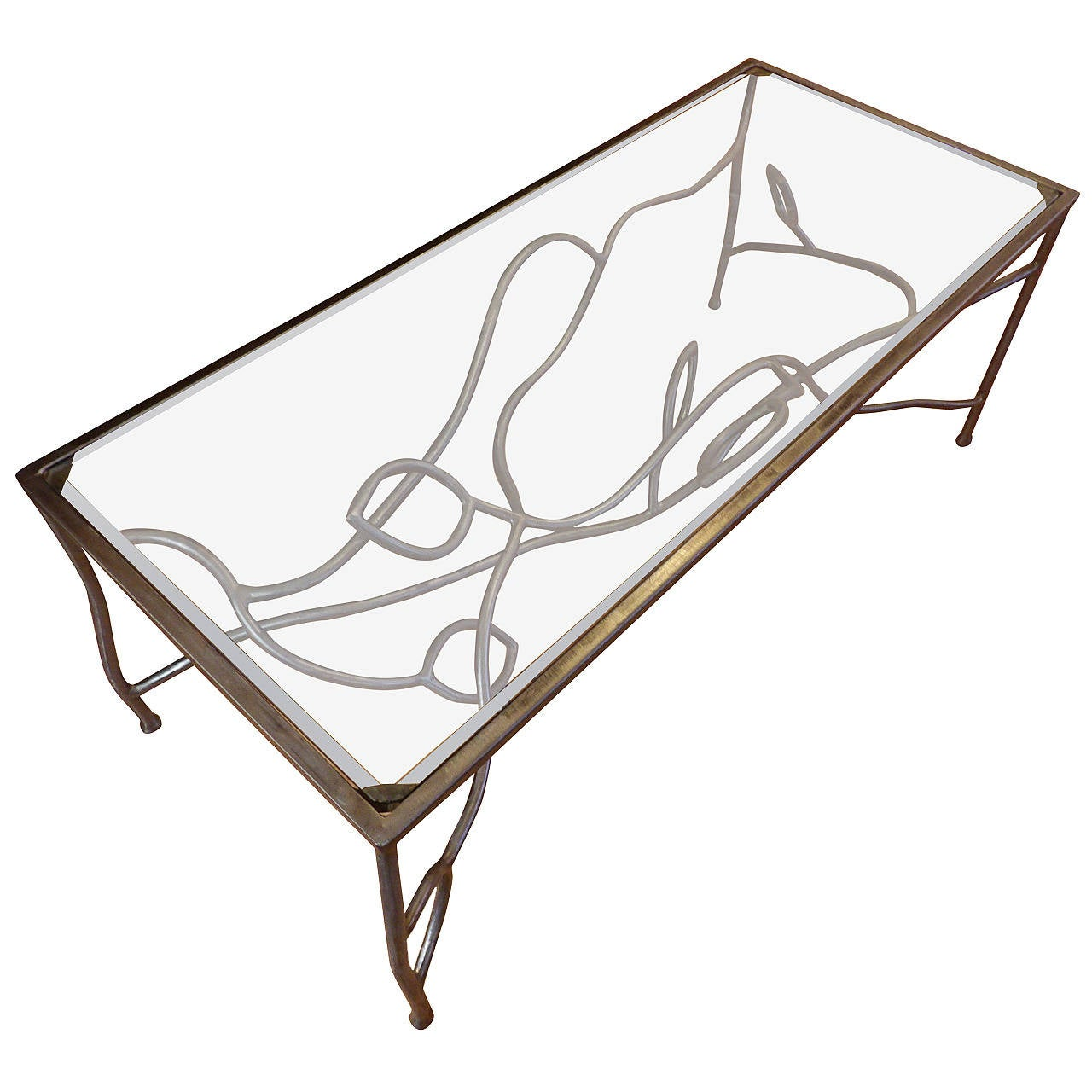 Unique Artisan Made Iron And Glass Asymmetrical Coffee Table At 1stdibs