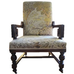 Large-Scale Armchair Chair with Tapestry Upholstery