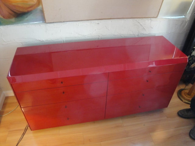 Red Lacquer Dresser By Interlubke At 1stdibs