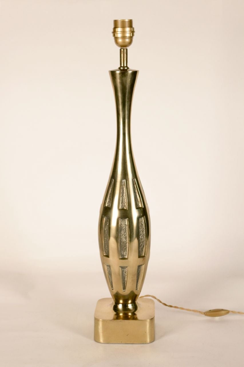 Pair Of Polished Brass Table Lamps For Sale At 1stdibs
