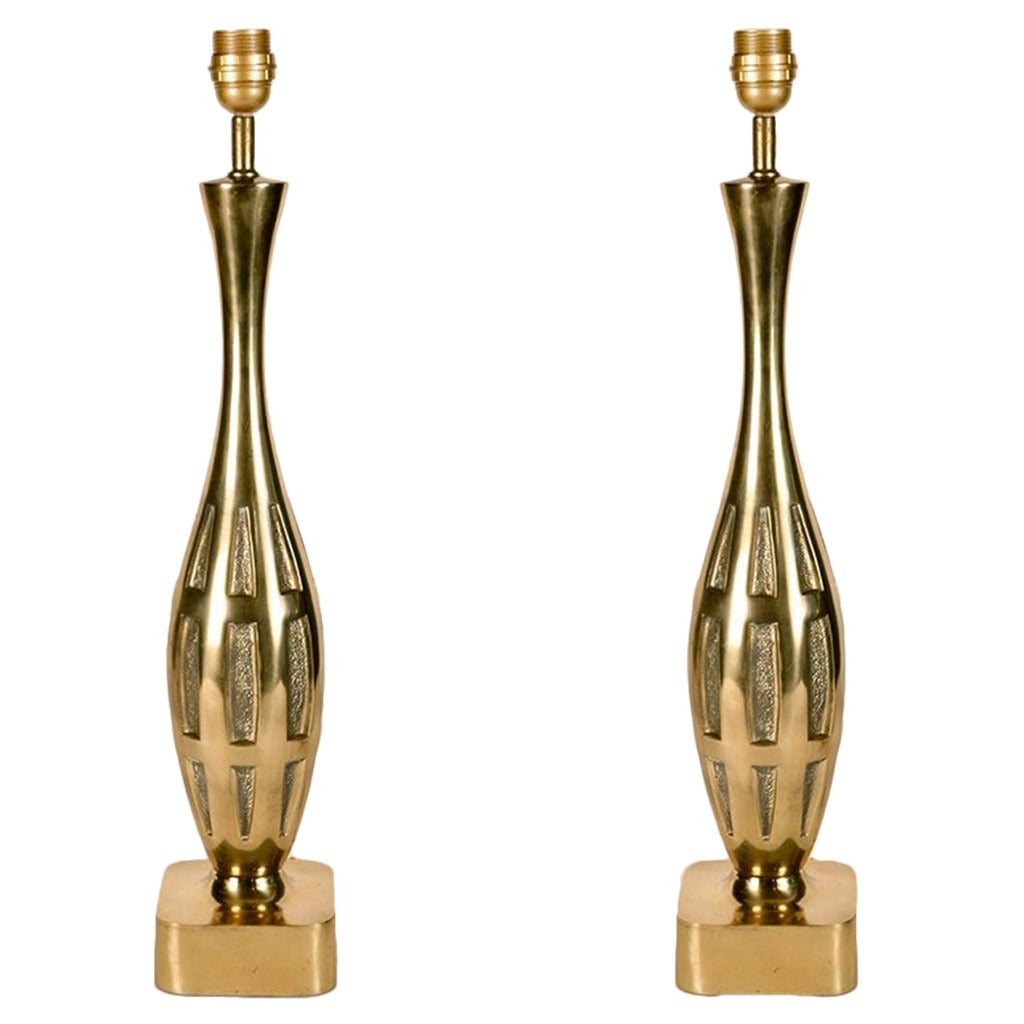 Pair of Polished Brass Table Lamps