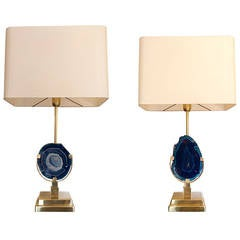 Pair of Blue Agates Table Lamps Attributed to Willy Daro