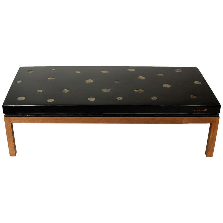 Coffee Table Of Black Resin And Inlaid Marcassite By E Allemeersch At 1stdibs