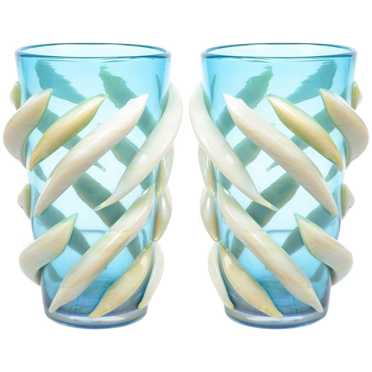 Pair of Murano Glass Vases, Signed Giulio Ferro