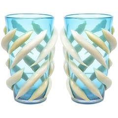 Pair of Murano Glass Vases, Signed Giulio Ferro