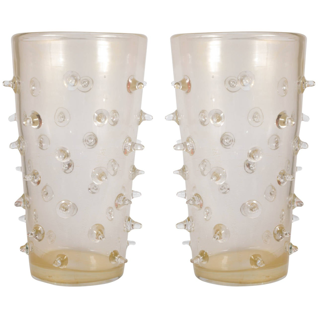Pair of Murano Glass Vases Signed
