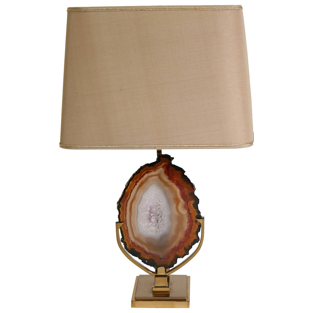 Lamp With Agate Attributed To Willy Daro At 1stdibs