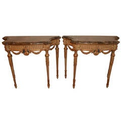 Pair of Louis XVI Style Painted and Gilt Consoles