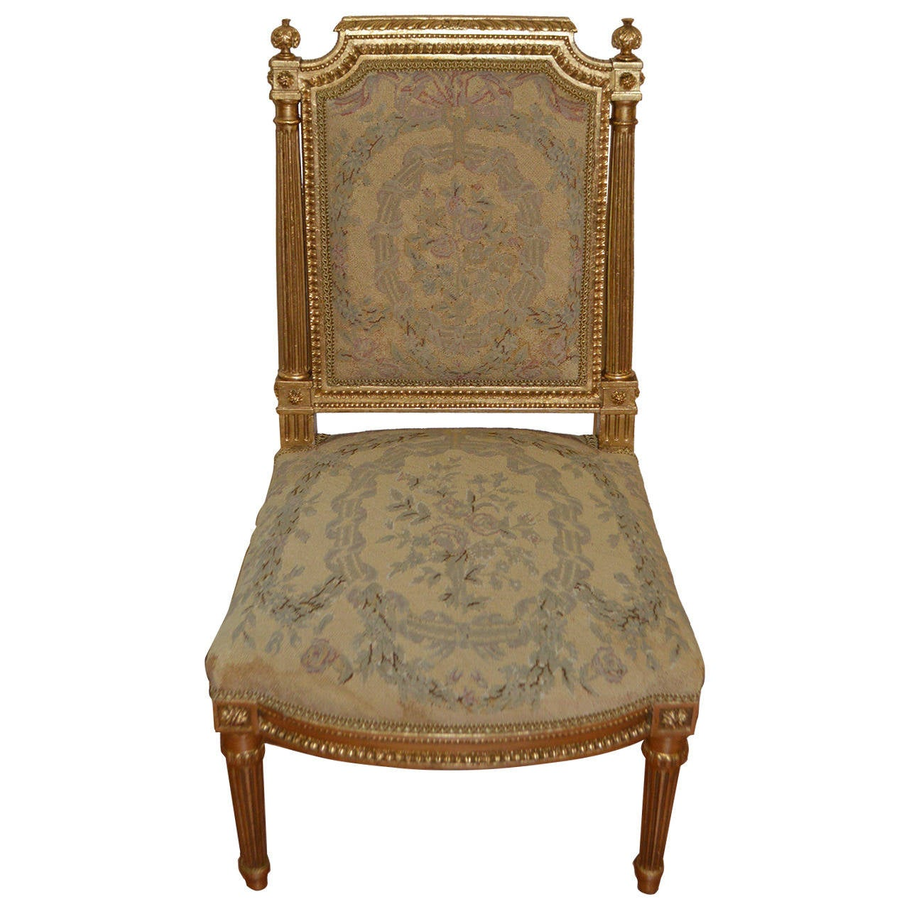 Louis xvi gilded with needle point side chair for sale at for Side chairs for sale