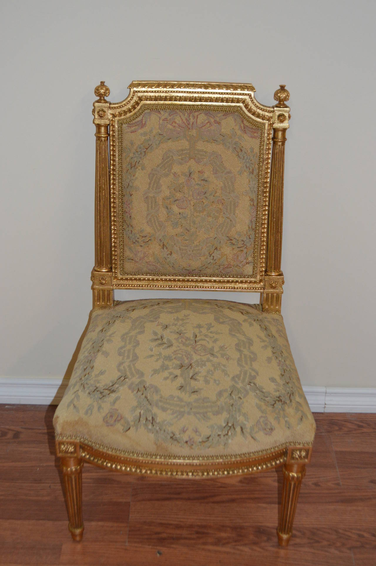Louis XVI Gilded with Needle Point Side Chair For Sale at