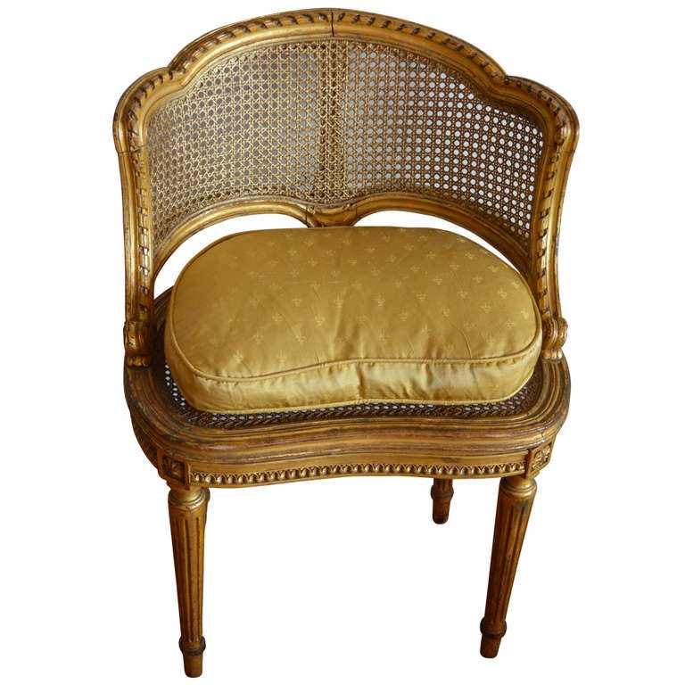 Louis XVI Style Gilded Side Chair at 1stdibs