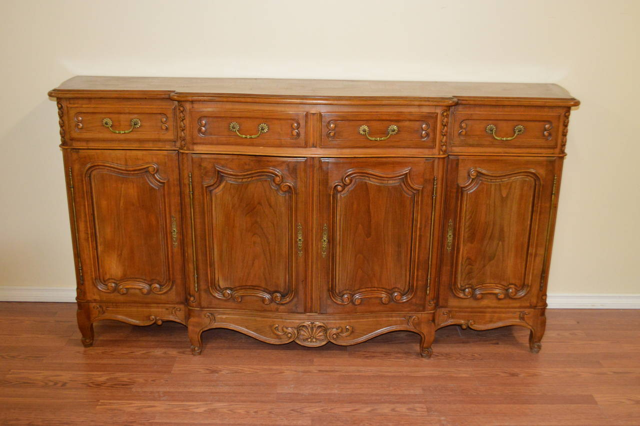 Louis xv style solid walnut buffet at stdibs