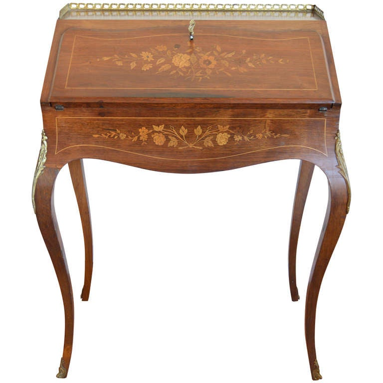 louis xv style inlay secretaire at 1stdibs. Black Bedroom Furniture Sets. Home Design Ideas