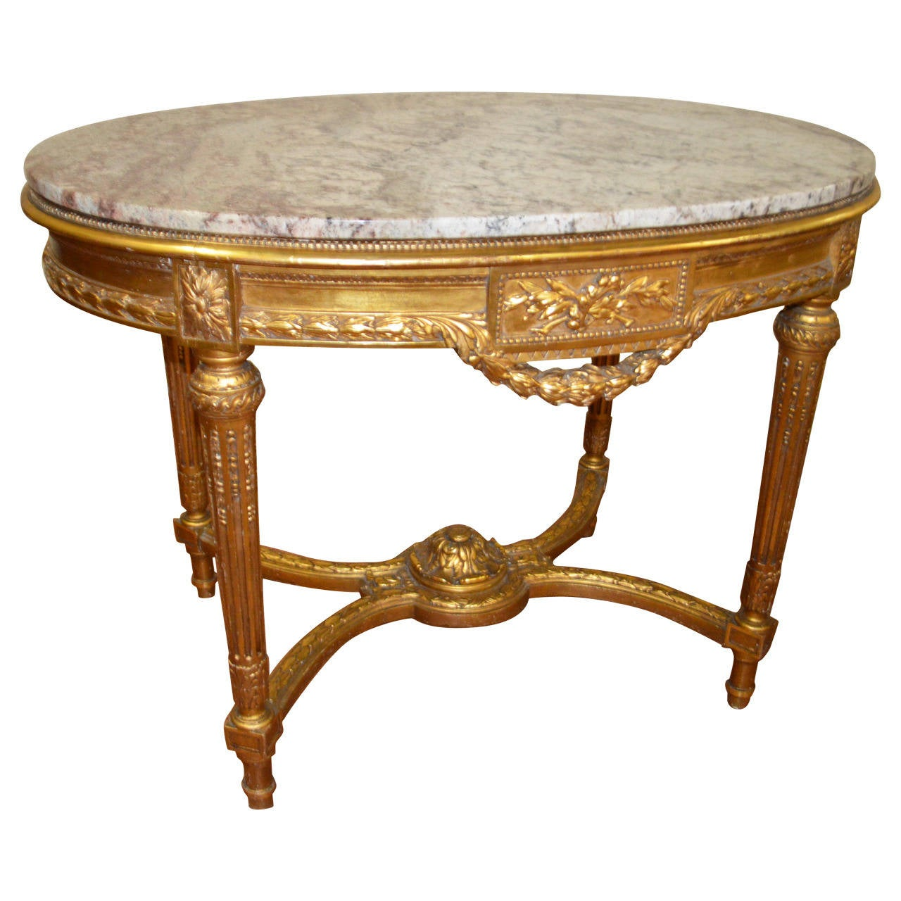 louis xvi style gilded hall or center table at 1stdibs. Black Bedroom Furniture Sets. Home Design Ideas