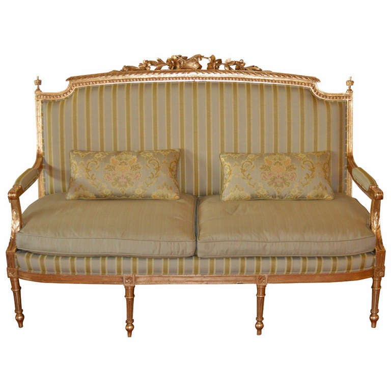 louis xvi style gilded canape at 1stdibs. Black Bedroom Furniture Sets. Home Design Ideas