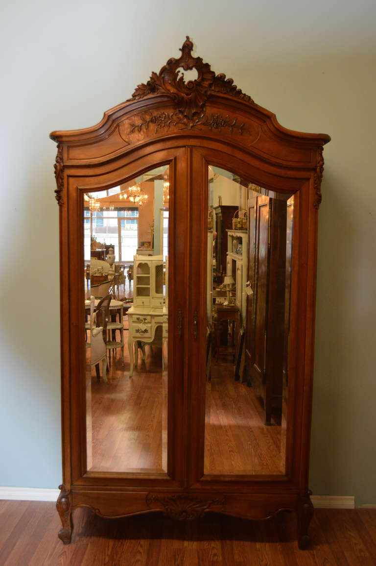 louis xv style two door walnut armoire at 1stdibs. Black Bedroom Furniture Sets. Home Design Ideas