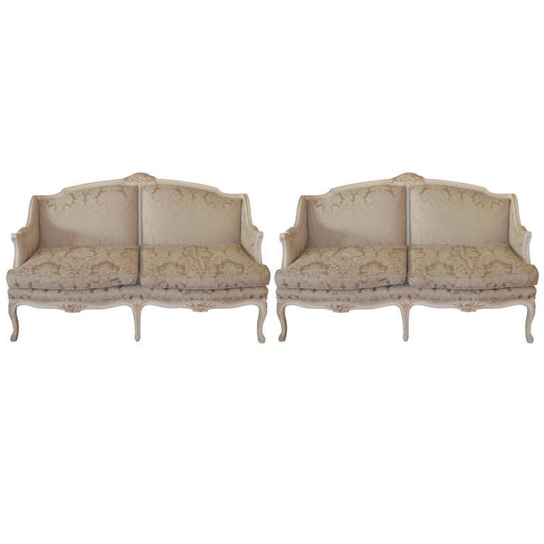 Pair of louis xv style canapes at 1stdibs for Canape style louis xv