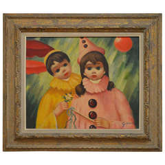 Oil Painting on Canvas, Children Dressed as Clowns