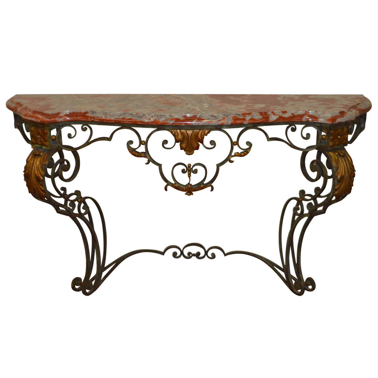 Wrought iron with marble top console table at 1stdibs for Wrought iron sofa table base