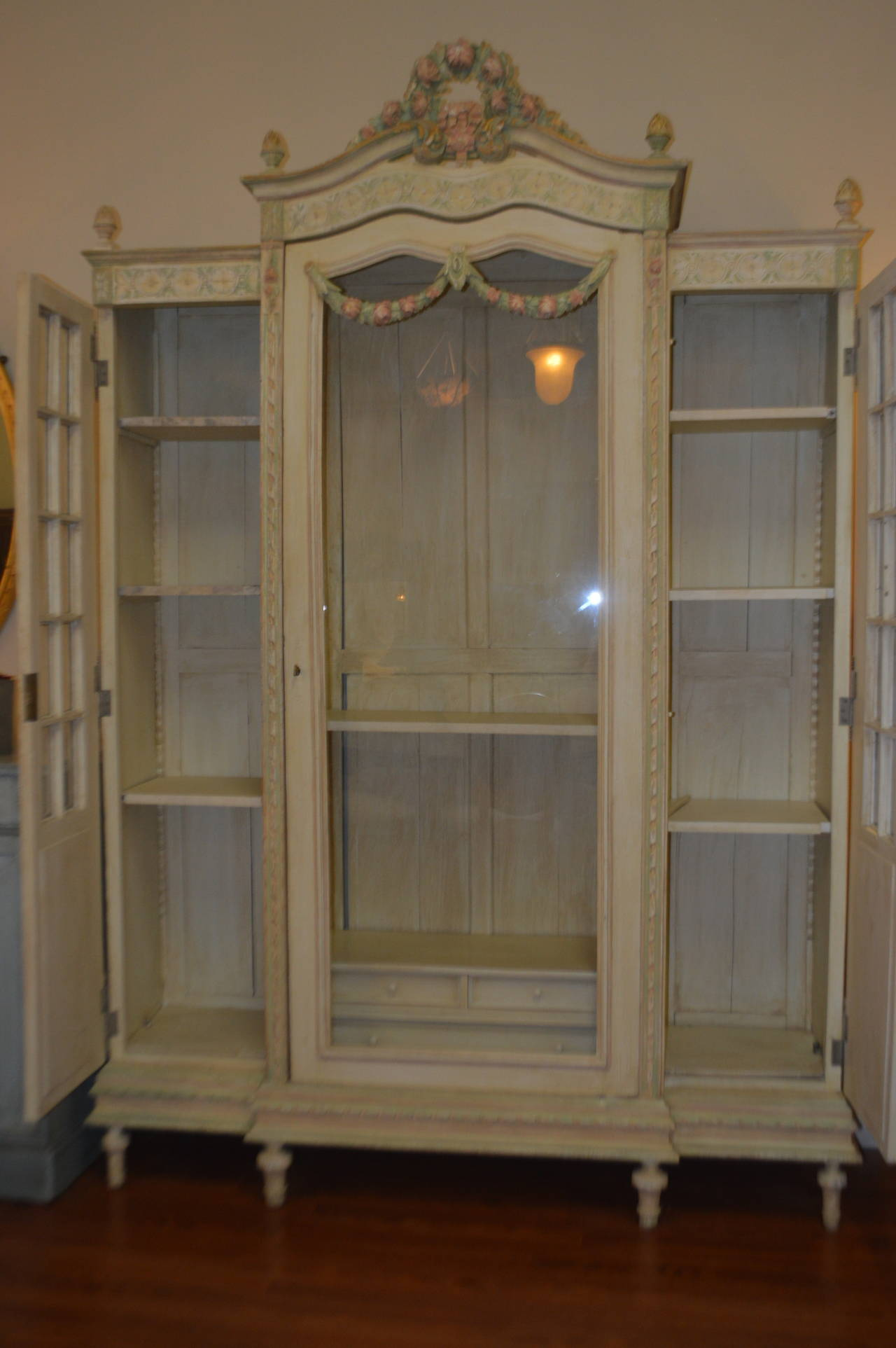 louis xvi style painted armoire with glass door for sale at 1stdibs. Black Bedroom Furniture Sets. Home Design Ideas
