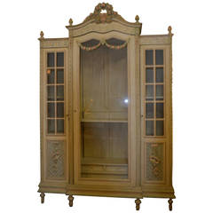 Louis XVI Style Painted Armoire With Glass Door
