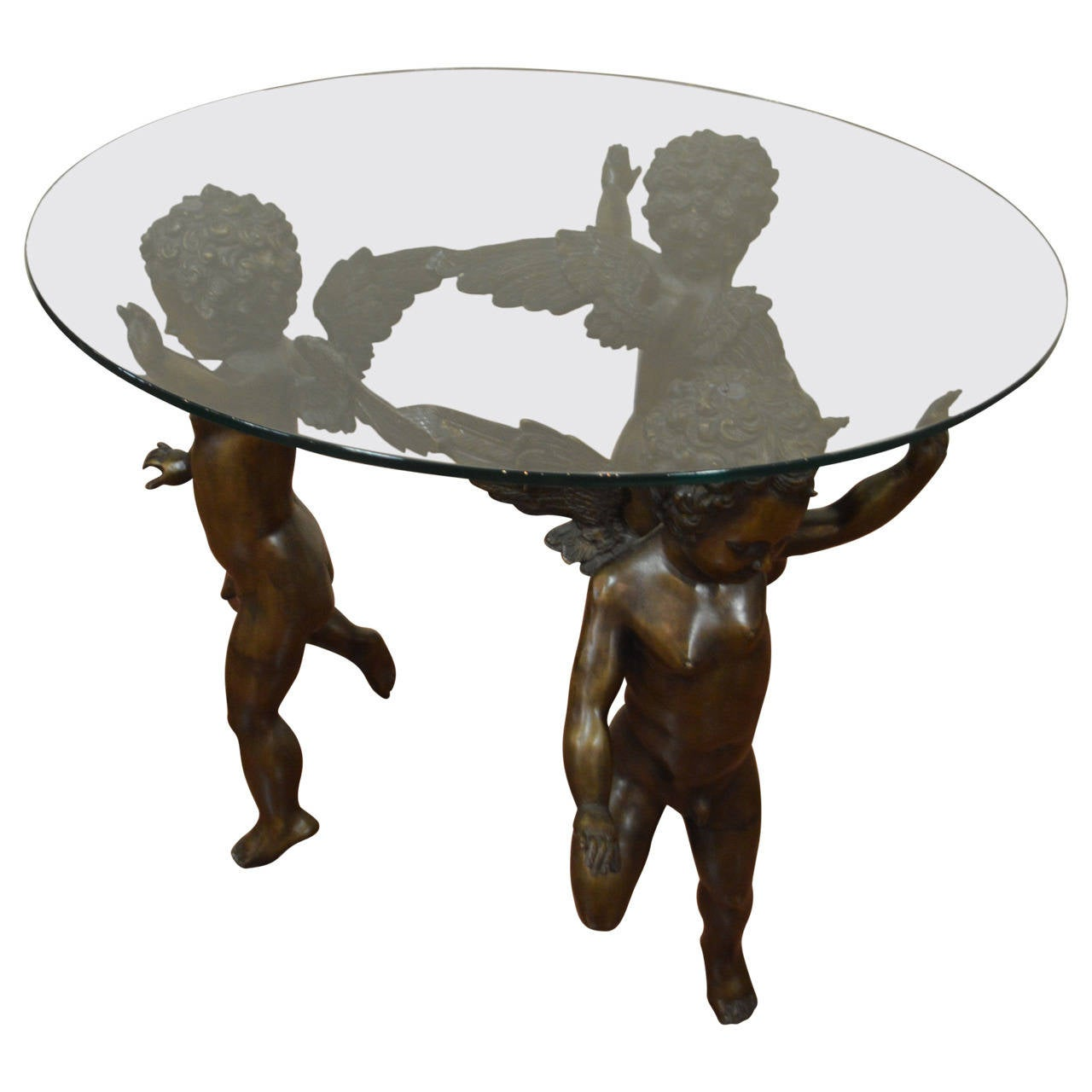 Unusual Coffee Tables Bronze Cherubs Base Cocktail Table At 1stdibs