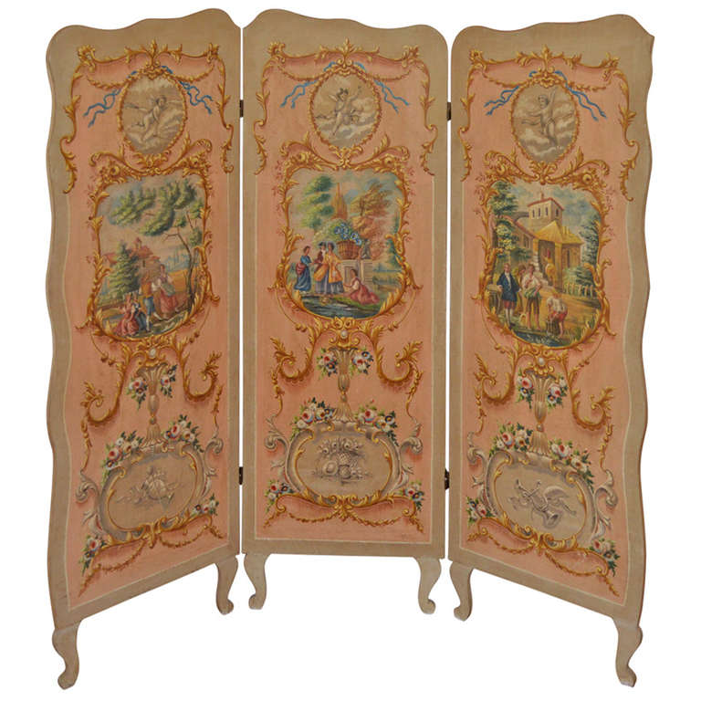 Hand Painted Screen at 1stdibs